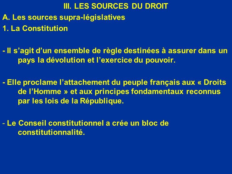 III. LES SOURCES DU DROIT A. Les sources supra-législatives 1. La Constitution - Il sagit dun ensemble de règle destinées à assurer dans un pays la dé