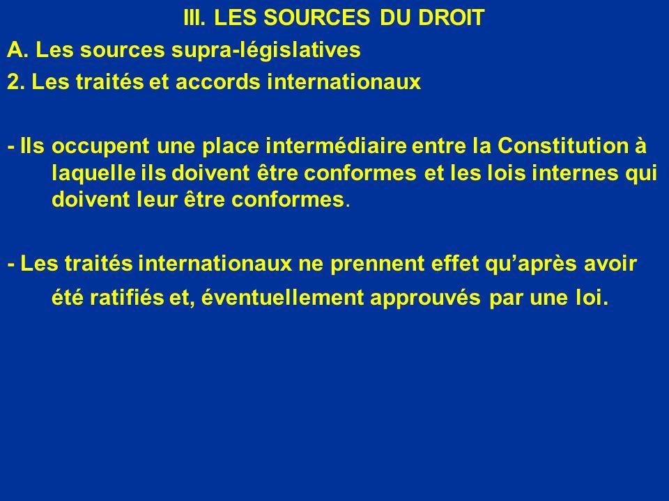 III. LES SOURCES DU DROIT A. Les sources supra-législatives 2. Les traités et accords internationaux - Ils occupent une place intermédiaire entre la C