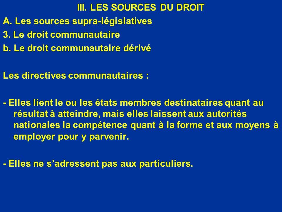 III. LES SOURCES DU DROIT A. Les sources supra-législatives 3. Le droit communautaire b. Le droit communautaire dérivé Les directives communautaires :