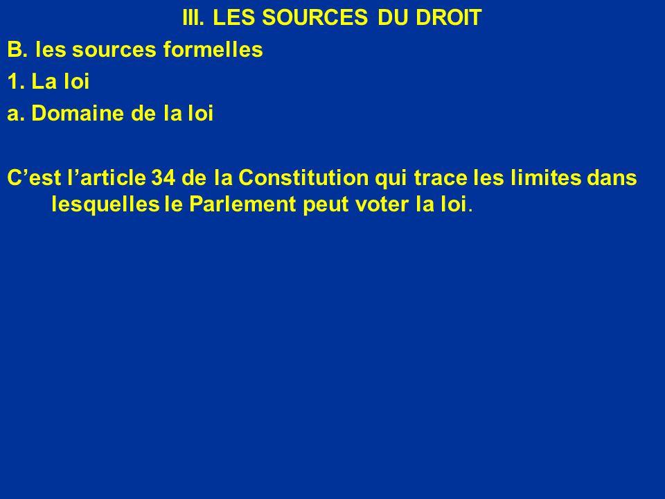 III. LES SOURCES DU DROIT B. les sources formelles 1. La loi a. Domaine de la loi Cest larticle 34 de la Constitution qui trace les limites dans lesqu
