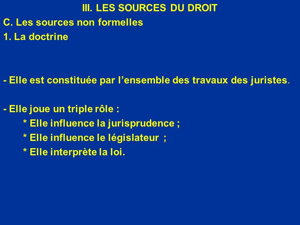 III. LES SOURCES DU DROIT C. Les sources non formelles 1. La doctrine - Elle est constituée par lensemble des travaux des juristes. - Elle joue un tri