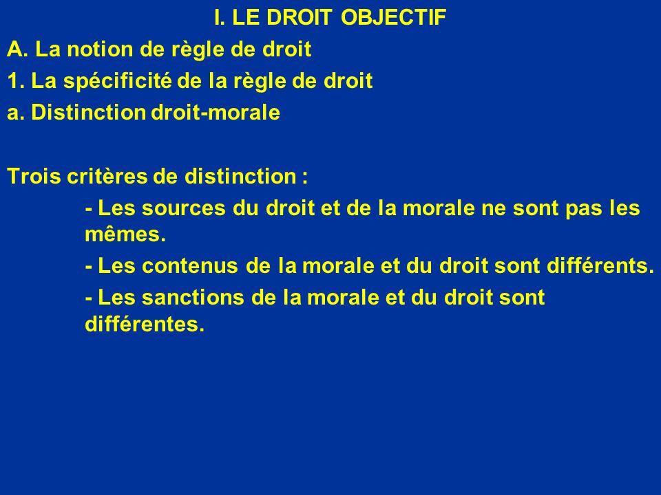 I. LE DROIT OBJECTIF A. La notion de règle de droit 1. La spécificité de la règle de droit a. Distinction droit-morale Trois critères de distinction :