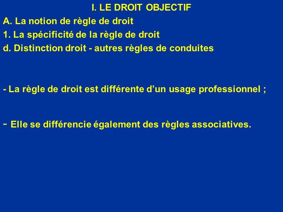 I. LE DROIT OBJECTIF A. La notion de règle de droit 1. La spécificité de la règle de droit d. Distinction droit - autres règles de conduites - La règl
