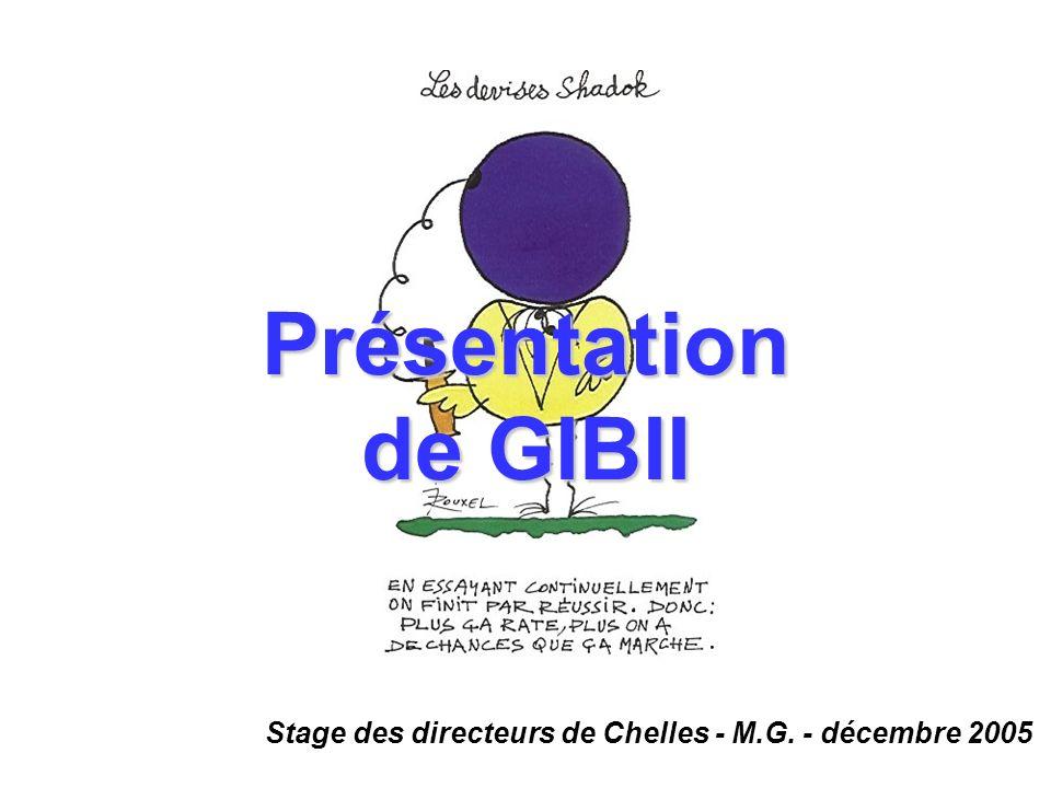 Stage des directeurs de Chelles - M.G. - décembre 2005 Présentation de GIBII