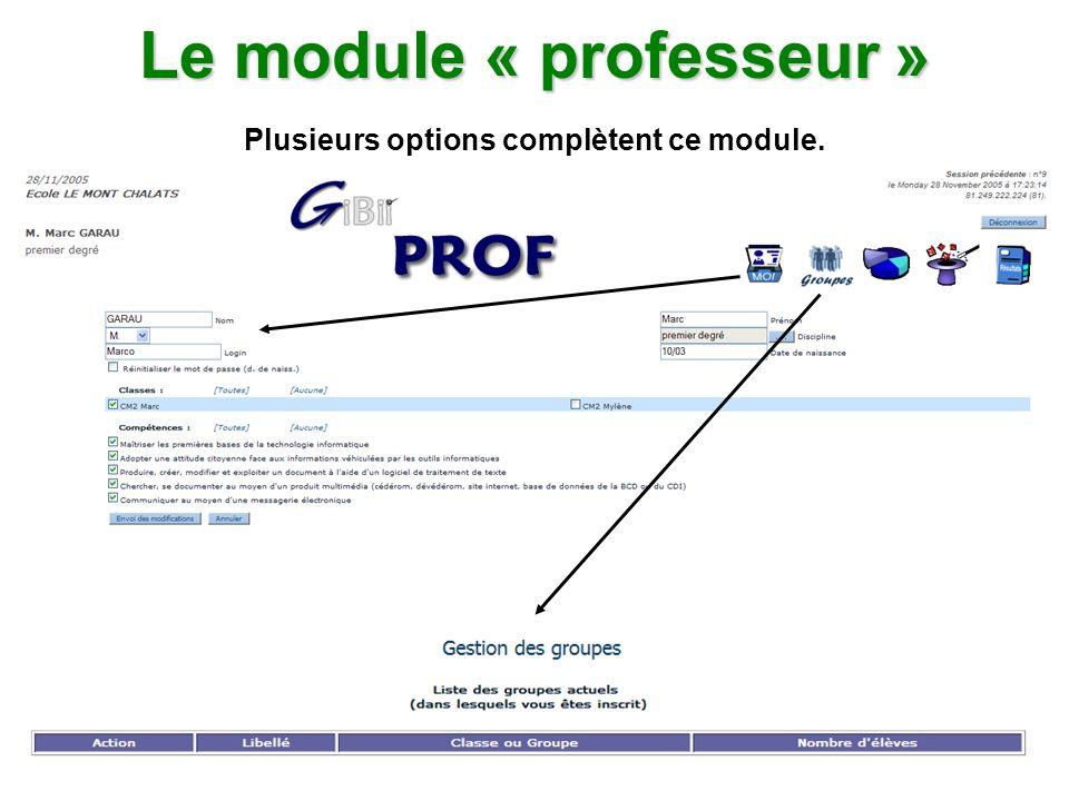 Le module « professeur » Plusieurs options complètent ce module.