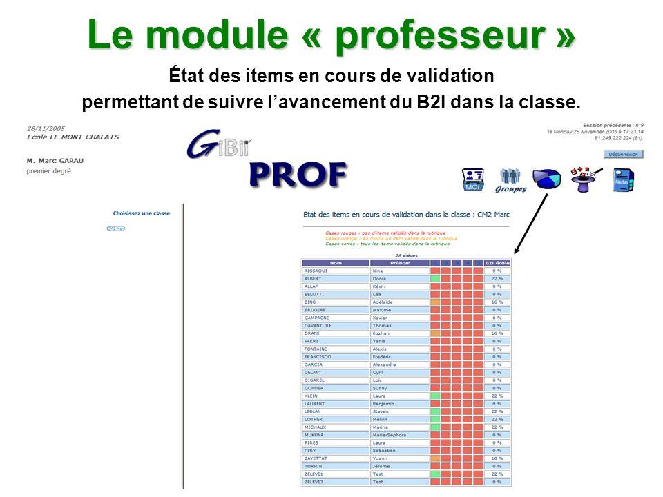 Le module « professeur » État des items en cours de validation permettant de suivre lavancement du B2I dans la classe.