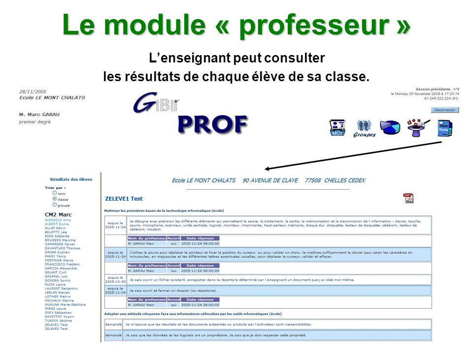 Le module « professeur » Lenseignant peut consulter les résultats de chaque élève de sa classe.