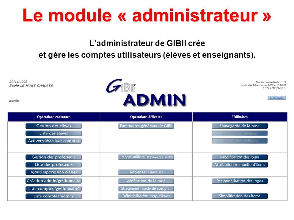 Le module « administrateur » Ladministrateur de GIBII crée et gère les comptes utilisateurs (élèves et enseignants).