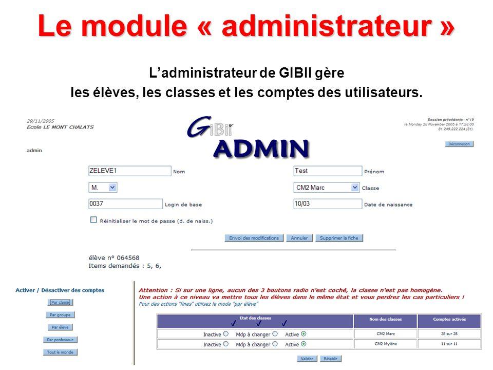 Le module « administrateur » Ladministrateur de GIBII gère les élèves, les classes et les comptes des utilisateurs.