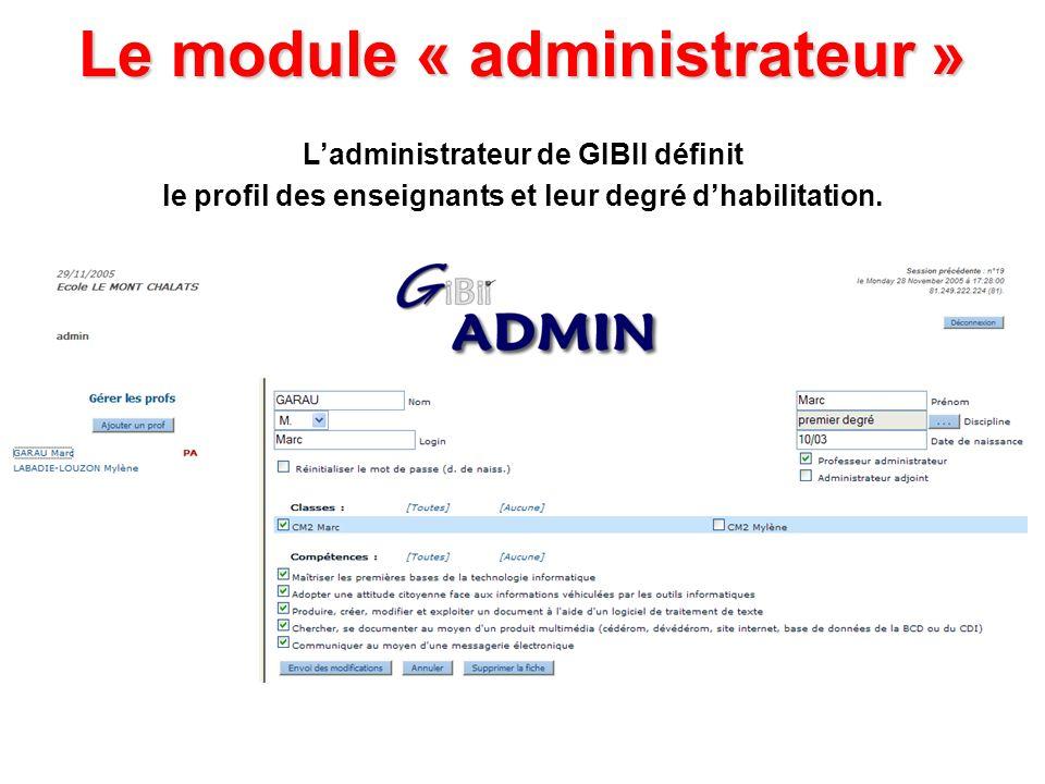 Le module « administrateur » Ladministrateur de GIBII définit le profil des enseignants et leur degré dhabilitation.