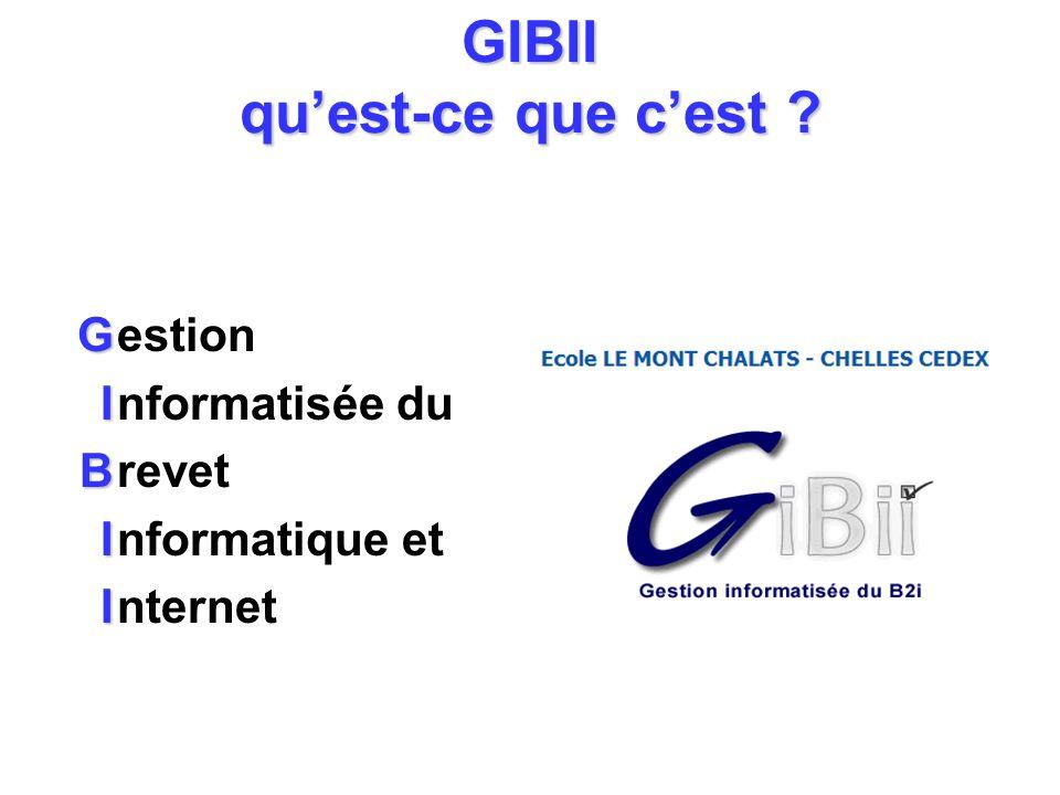 GIBII quest-ce que cest ? G I B I I estion nformatisée du revet nformatique et nternet