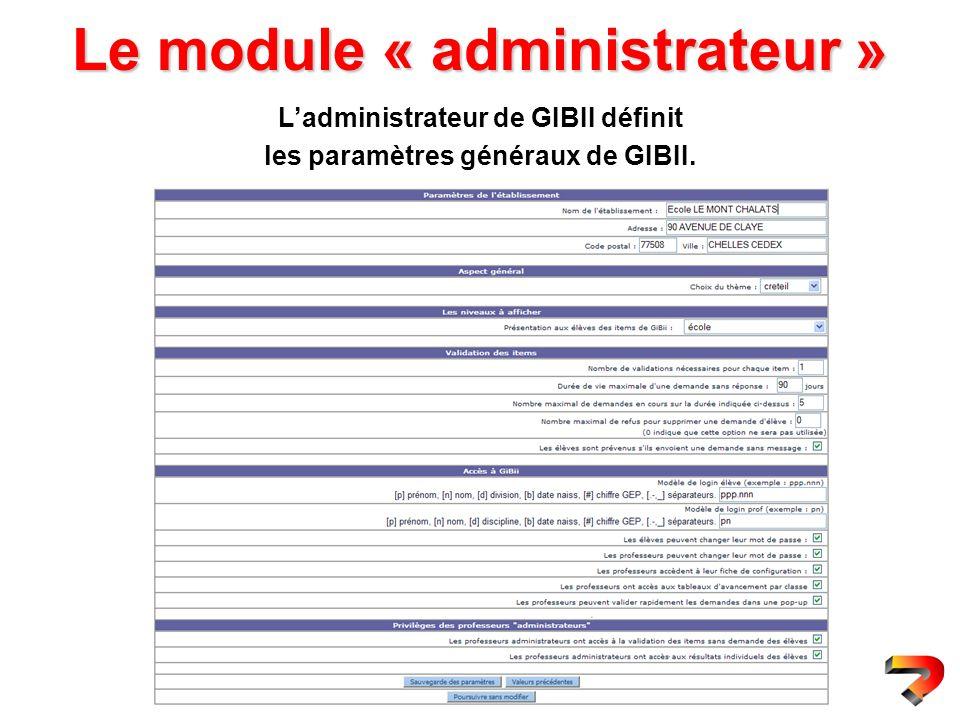 Le module « administrateur » Ladministrateur de GIBII définit les paramètres généraux de GIBII.