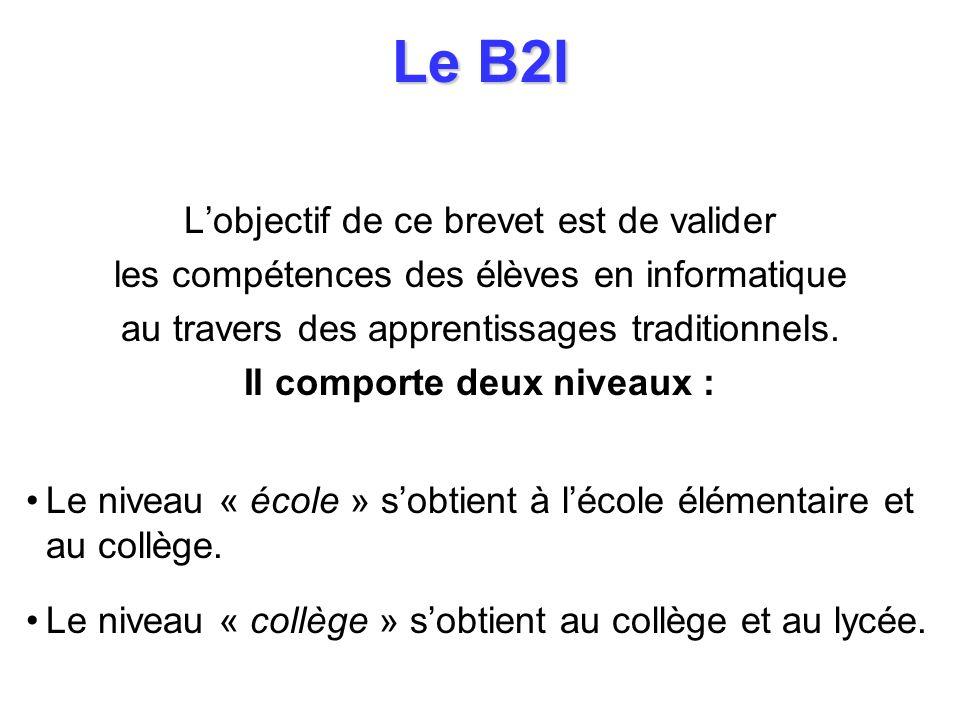 Le B2I Lobjectif de ce brevet est de valider les compétences des élèves en informatique au travers des apprentissages traditionnels. Il comporte deux