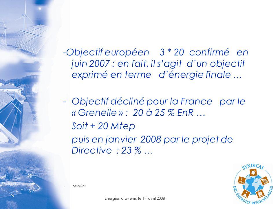 Energies d'avenir, le 14 avril 2008 -Objectif européen 3 * 20 confirmé en juin 2007 : en fait, il sagit dun objectif exprimé en terme dénergie finale