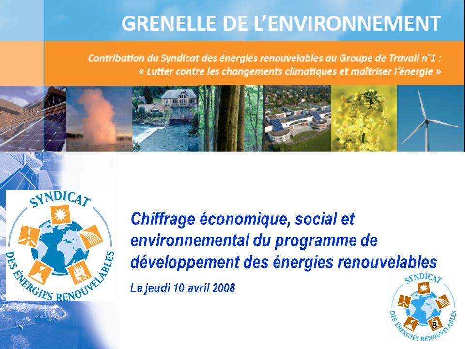 8 Chiffrage économique, social et environnemental du programme de développement des énergies renouvelables Le jeudi 10 avril 2008