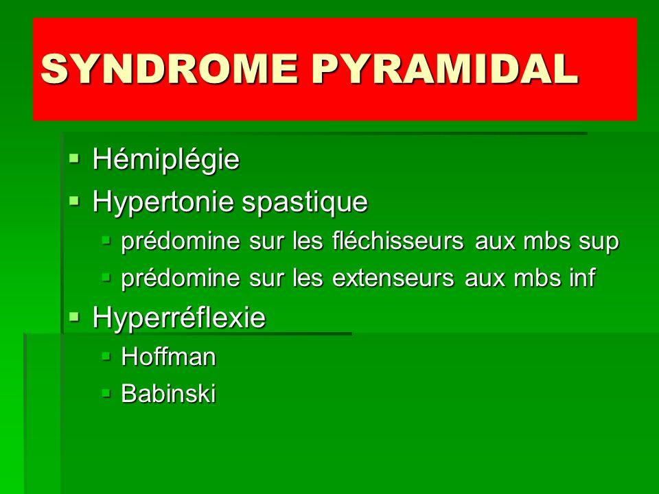 SYNDROME PYRAMIDAL Hémiplégie Hémiplégie Hypertonie spastique Hypertonie spastique prédomine sur les fléchisseurs aux mbs sup prédomine sur les fléchi