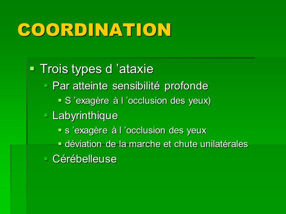 COORDINATION Trois types d ataxie Trois types d ataxie Par atteinte sensibilité profonde Par atteinte sensibilité profonde S exagère à l occlusion des