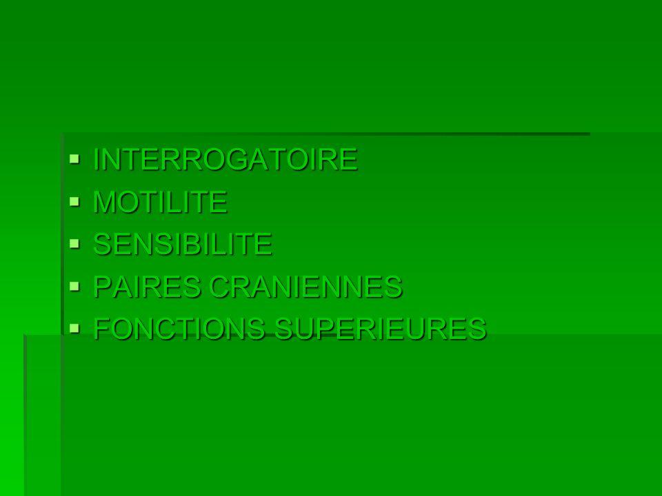 INTERROGATOIRE INTERROGATOIRE MOTILITE MOTILITE SENSIBILITE SENSIBILITE PAIRES CRANIENNES PAIRES CRANIENNES FONCTIONS SUPERIEURES FONCTIONS SUPERIEURE