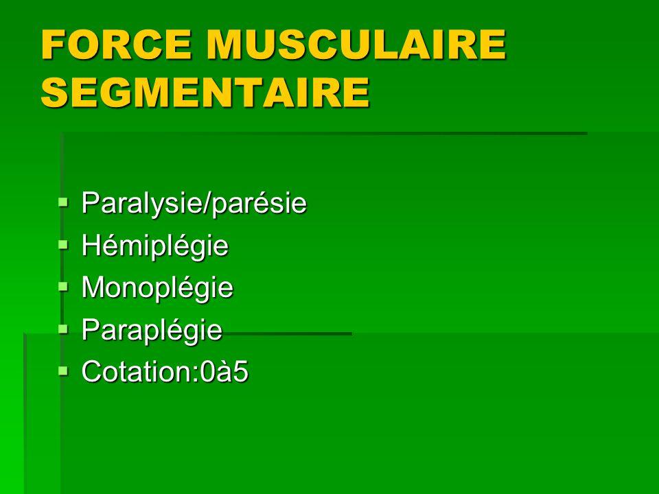 FORCE MUSCULAIRE SEGMENTAIRE Paralysie/parésie Paralysie/parésie Hémiplégie Hémiplégie Monoplégie Monoplégie Paraplégie Paraplégie Cotation:0à5 Cotati