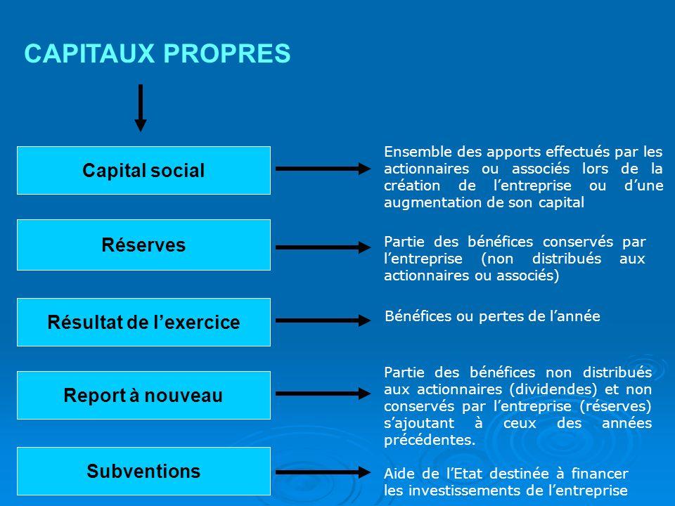 Capital social CAPITAUX PROPRES Ensemble des apports effectués par les actionnaires ou associés lors de la création de lentreprise ou dune augmentatio