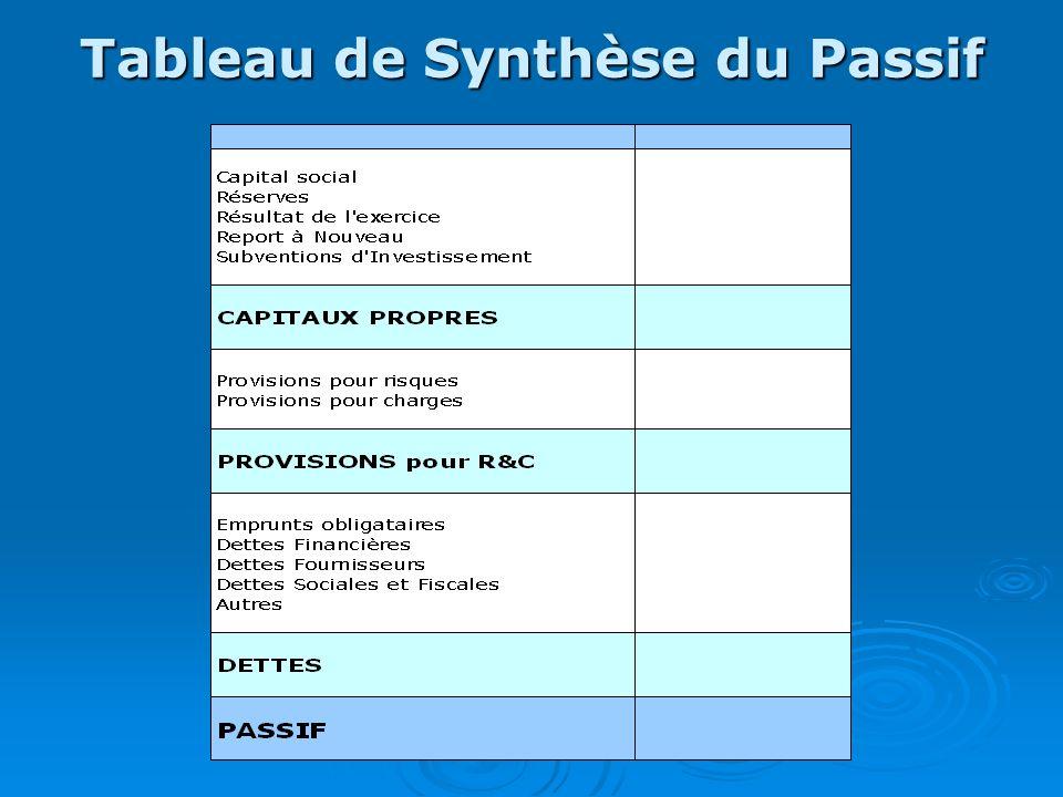 Tableau de Synthèse du Passif