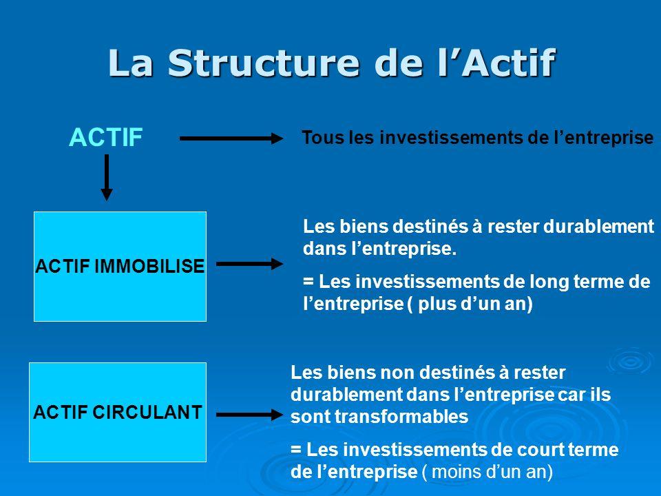 La Structure de lActif ACTIF IMMOBILISE ACTIF CIRCULANT ACTIF Tous les investissements de lentreprise Les biens destinés à rester durablement dans len