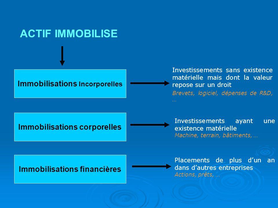 Immobilisations Incorporelles ACTIF IMMOBILISE Immobilisations corporelles Immobilisations financières Investissements sans existence matérielle mais