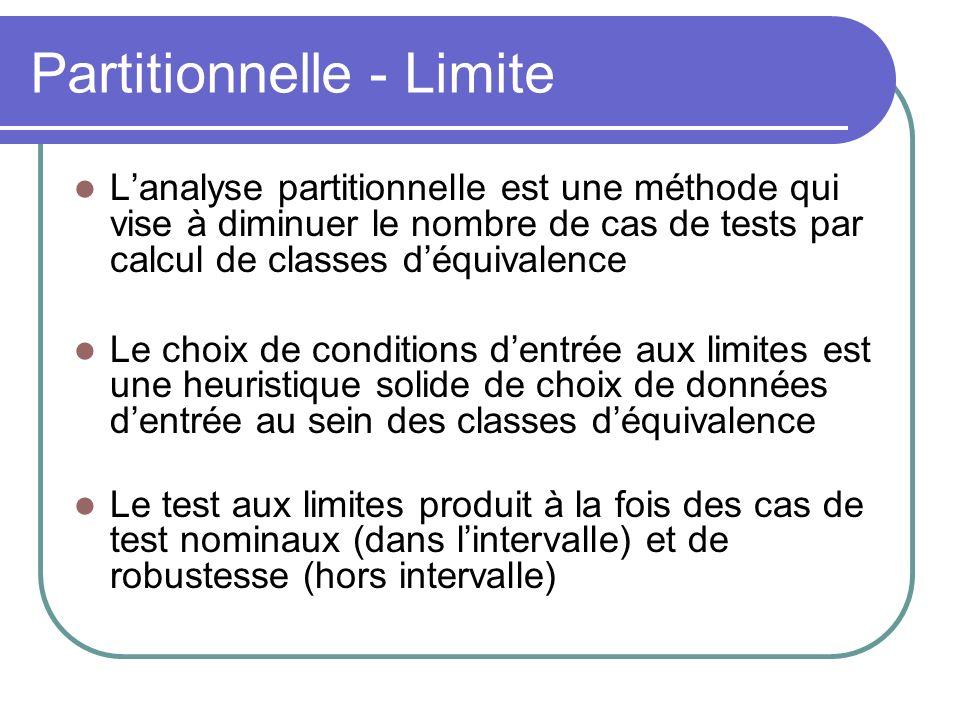 Partitionnelle - Limite Lanalyse partitionnelle est une méthode qui vise à diminuer le nombre de cas de tests par calcul de classes déquivalence Le choix de conditions dentrée aux limites est une heuristique solide de choix de données dentrée au sein des classes déquivalence Le test aux limites produit à la fois des cas de test nominaux (dans lintervalle) et de robustesse (hors intervalle)