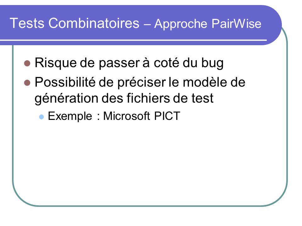 Tests Combinatoires – Approche PairWise Risque de passer à coté du bug Possibilité de préciser le modèle de génération des fichiers de test Exemple : Microsoft PICT