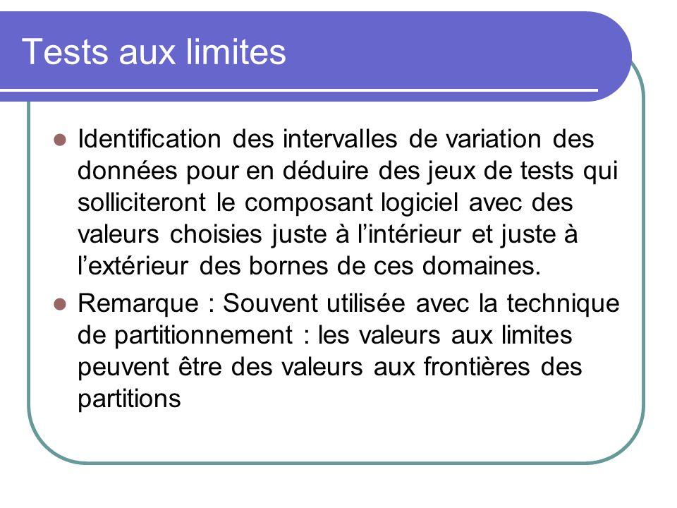 Tests aux limites Identification des intervalles de variation des données pour en déduire des jeux de tests qui solliciteront le composant logiciel avec des valeurs choisies juste à lintérieur et juste à lextérieur des bornes de ces domaines.