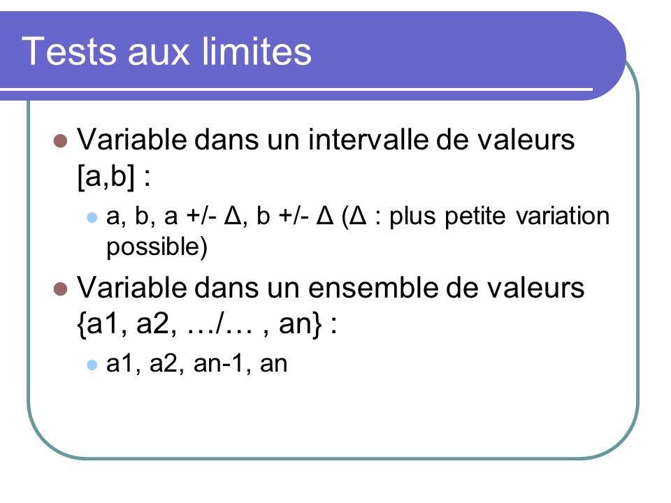 Tests aux limites Cas général : pour un paramètre appartenant à un interval, génération de 6 DT Exemple P appartient à [0 – 100].