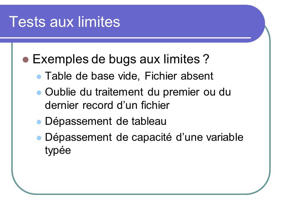 Tests aux limites Exemples de bugs aux limites .