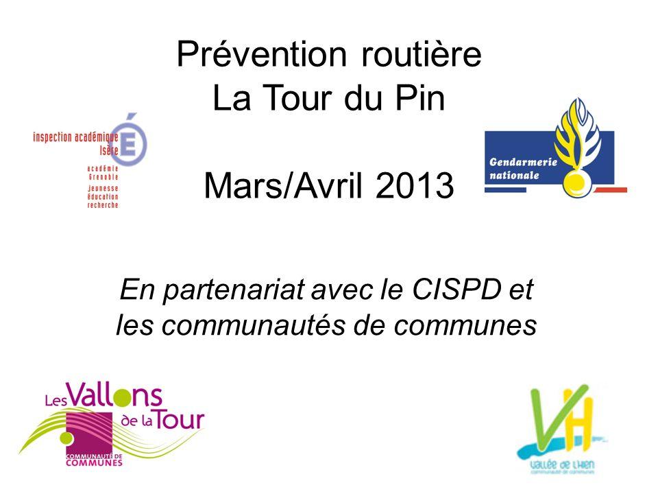 Prévention routière La Tour du Pin Mars/Avril 2013 En partenariat avec le CISPD et les communautés de communes
