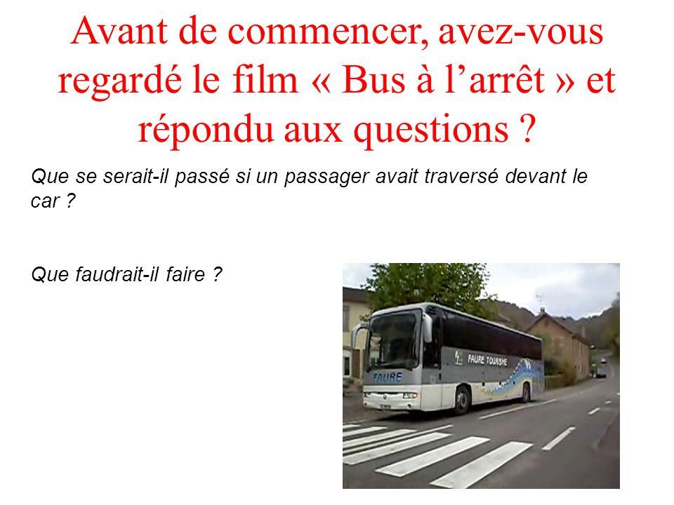 Avant de commencer, avez-vous regardé le film « Bus à larrêt » et répondu aux questions ? Que se serait-il passé si un passager avait traversé devant