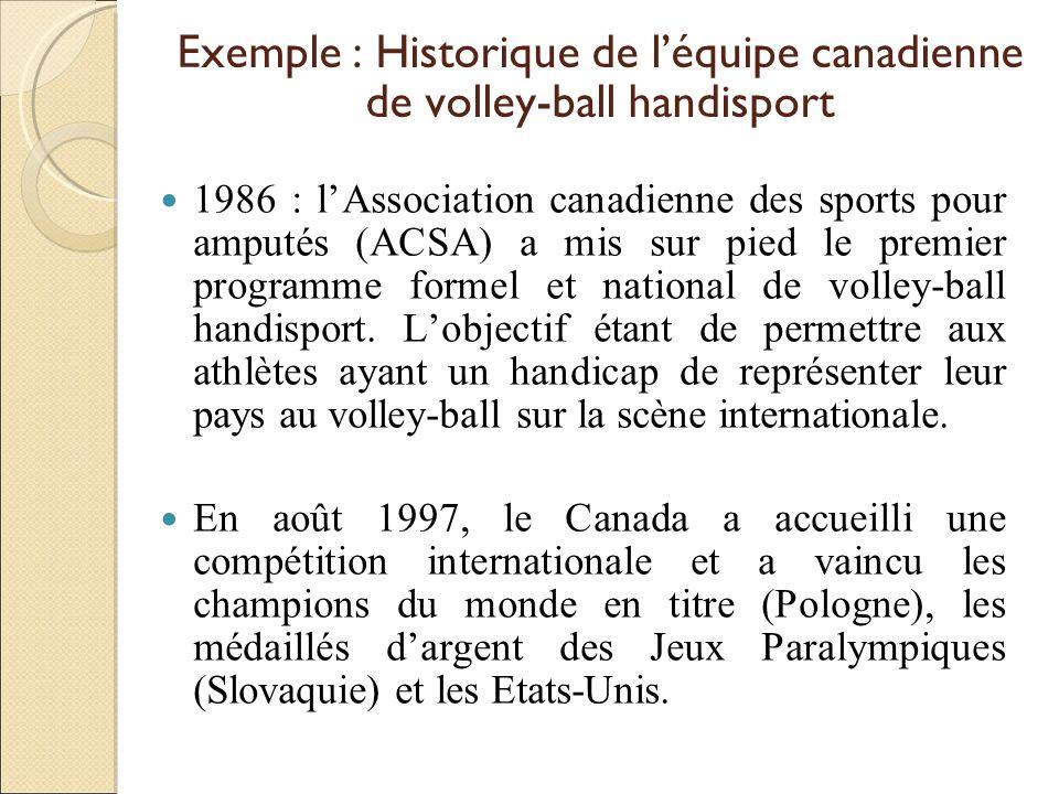 Exemple : Historique de léquipe canadienne de volley-ball handisport 1986 : lAssociation canadienne des sports pour amputés (ACSA) a mis sur pied le p