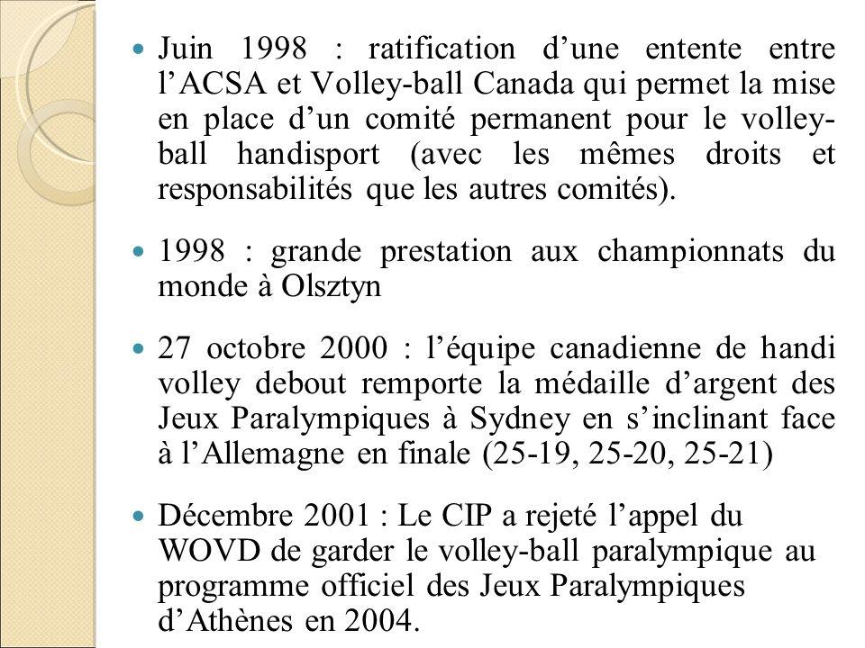 Juin 1998 : ratification dune entente entre lACSA et Volley-ball Canada qui permet la mise en place dun comité permanent pour le volley- ball handispo