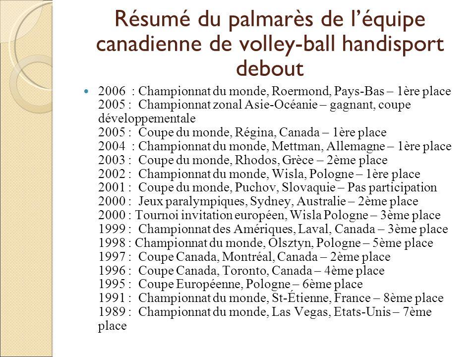 Résumé du palmarès de léquipe canadienne de volley-ball handisport debout 2006 : Championnat du monde, Roermond, Pays-Bas – 1ère place 2005 : Champion