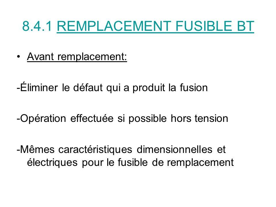 8.4.1 REMPLACEMENT FUSIBLE BT Avant remplacement: -Éliminer le défaut qui a produit la fusion -Opération effectuée si possible hors tension -Mêmes car
