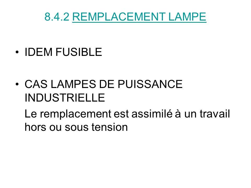 8.4.2 REMPLACEMENT LAMPE IDEM FUSIBLE CAS LAMPES DE PUISSANCE INDUSTRIELLE Le remplacement est assimilé à un travail hors ou sous tension