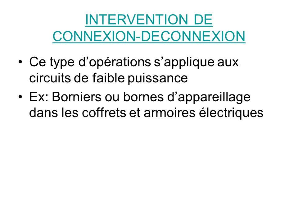 INTERVENTION DE CONNEXION-DECONNEXION Ce type dopérations sapplique aux circuits de faible puissance Ex: Borniers ou bornes dappareillage dans les cof