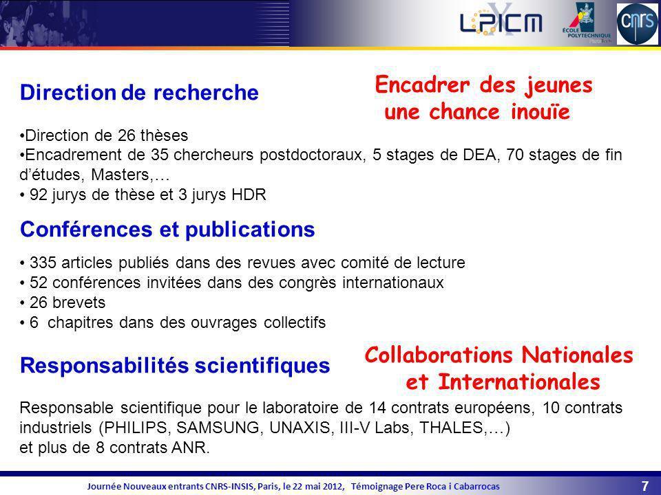 8 Journée Nouveaux entrants CNRS-INSIS, Paris, le 22 mai 2012, Témoignage Pere Roca i Cabarrocas Activités d enseignement - Professeur Chargé de Cours à lécole polytechnique, depuis 2009 - Enseignant dans Obtention de Couches Minces organisé par la SFV depuis 1990 - Mastère Rayonnement et Energie.