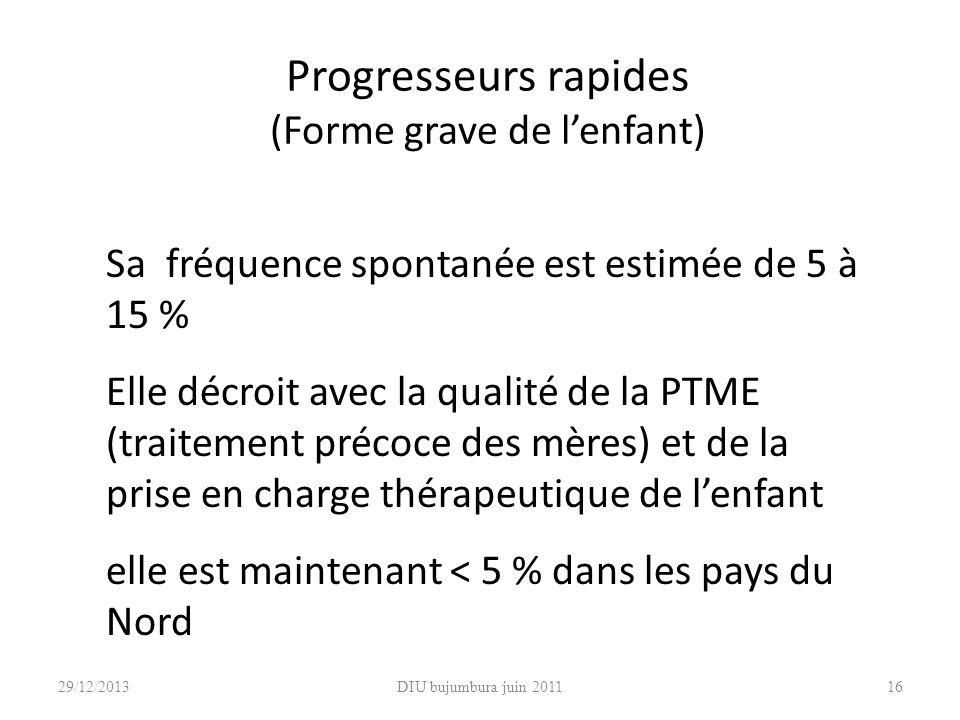 DIU bujumbura juin 201116 Progresseurs rapides (Forme grave de lenfant) Sa fréquence spontanée est estimée de 5 à 15 % Elle décroit avec la qualité de