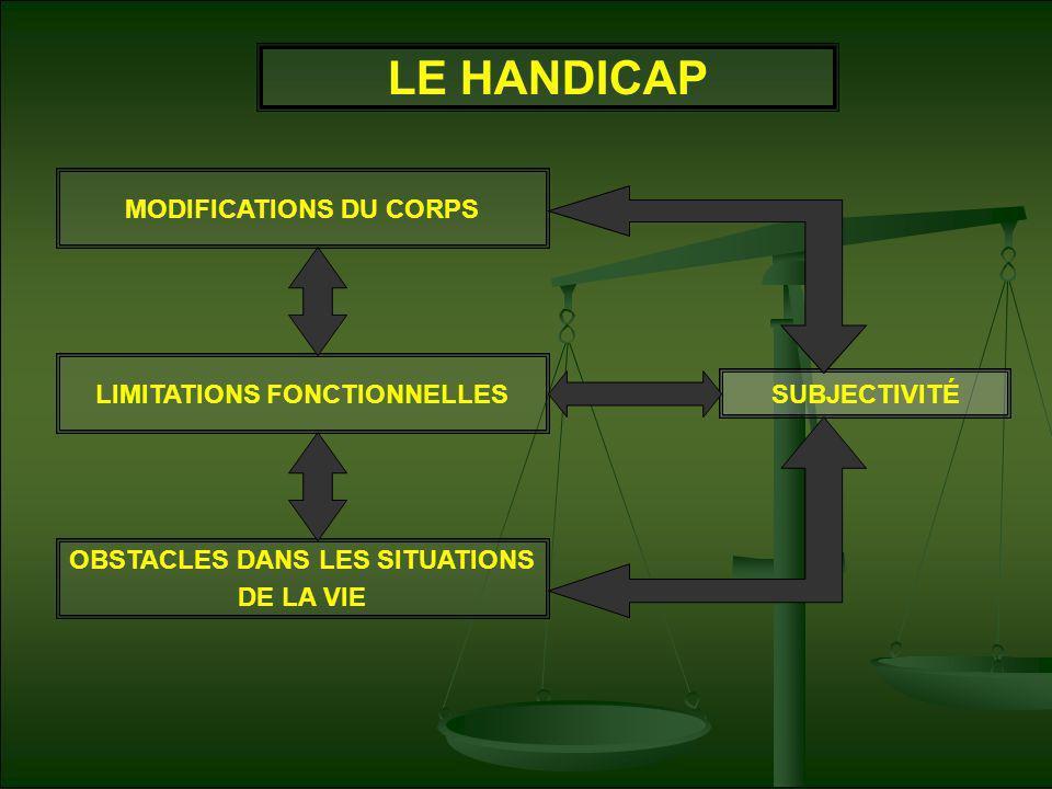 LE HANDICAP MODIFICATIONS DU CORPS LIMITATIONS FONCTIONNELLES OBSTACLES DANS LES SITUATIONS DE LA VIE SUBJECTIVITÉ