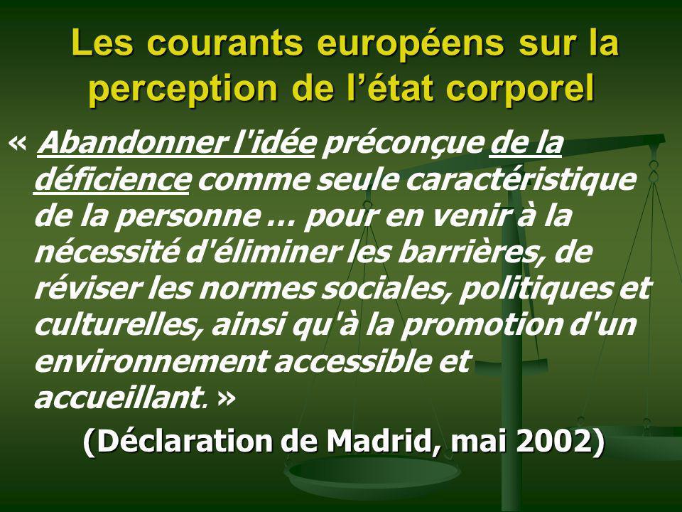 Les courants européens sur la perception de létat corporel Les courants européens sur la perception de létat corporel « Abandonner l'idée préconçue de