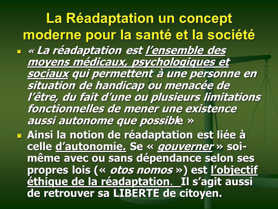 La Réadaptation un concept moderne pour la santé et la société « La réadaptation est lensemble des moyens médicaux, psychologiques et sociaux qui perm