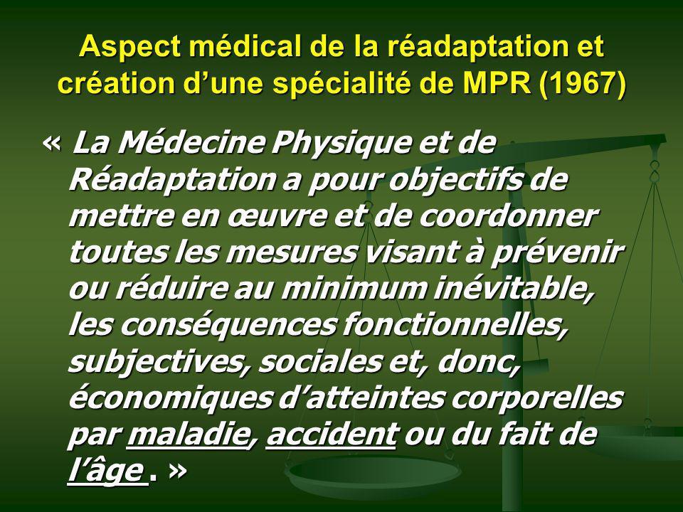 Aspect médical de la réadaptation et création dune spécialité de MPR (1967) « La Médecine Physique et de Réadaptation a pour objectifs de mettre en œu