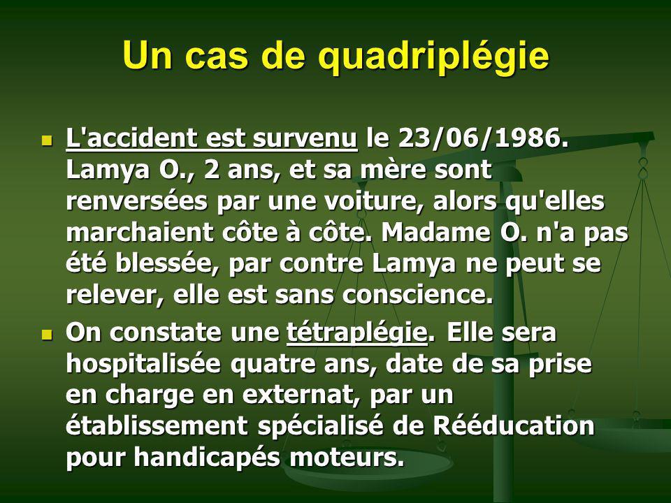 Un cas de quadriplégie L'accident est survenu le 23/06/1986. Lamya O., 2 ans, et sa mère sont renversées par une voiture, alors qu'elles marchaient cô