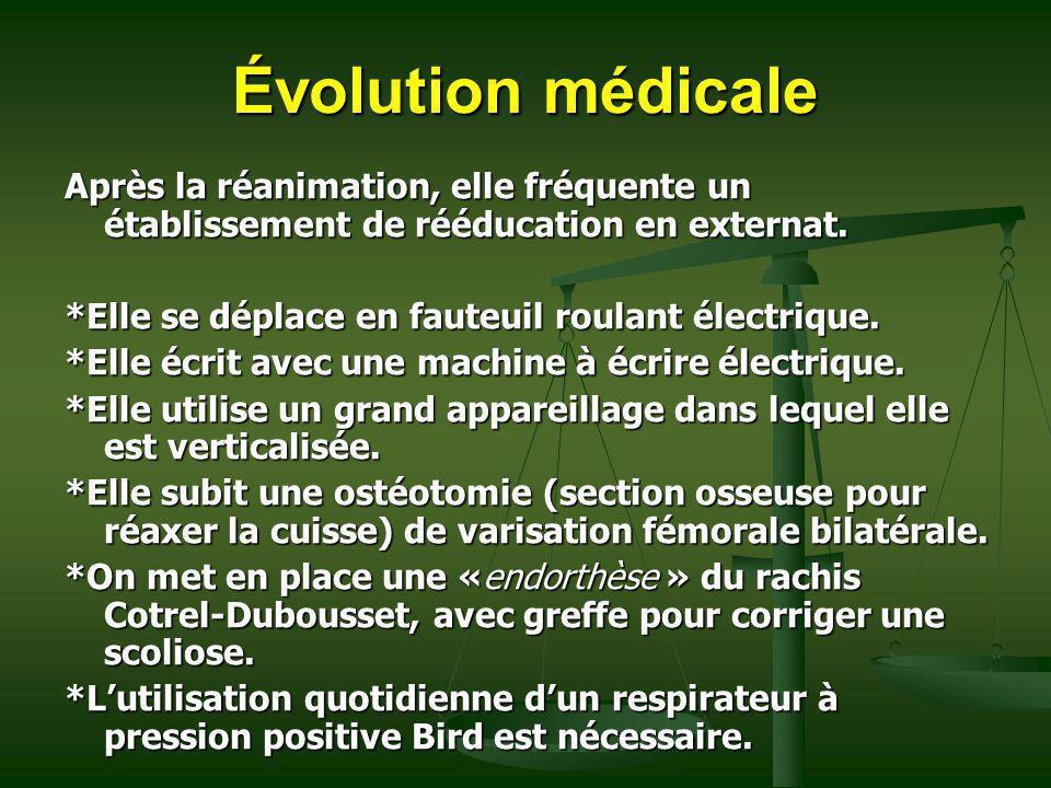Évolution médicale Après la réanimation, elle fréquente un établissement de rééducation en externat. *Elle se déplace en fauteuil roulant électrique.