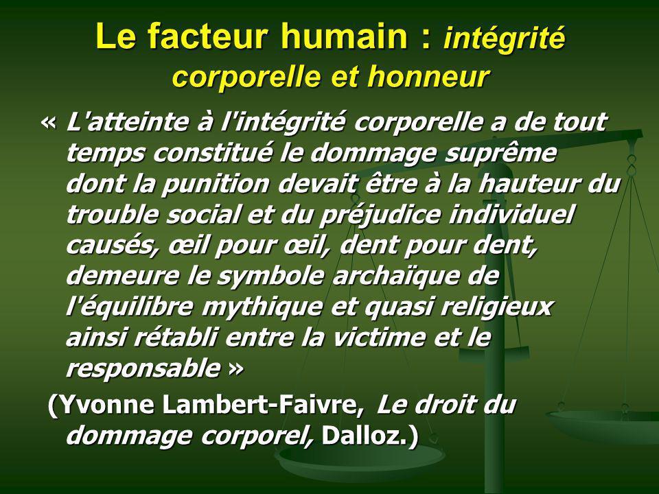 Le facteur humain : intégrité corporelle et honneur « L'atteinte à l'intégrité corporelle a de tout temps constitué le dommage suprême dont la punitio