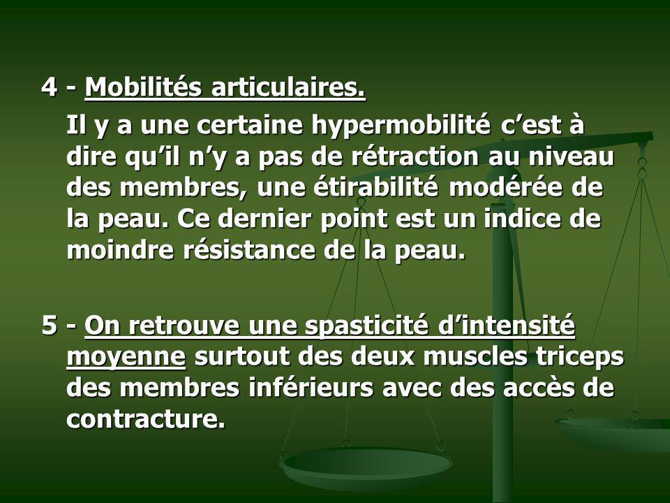 4 - Mobilités articulaires. Il y a une certaine hypermobilité cest à dire quil ny a pas de rétraction au niveau des membres, une étirabilité modérée d